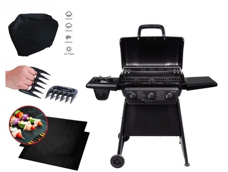 Iron steel gas grill outdoor 4burner propane mat cover