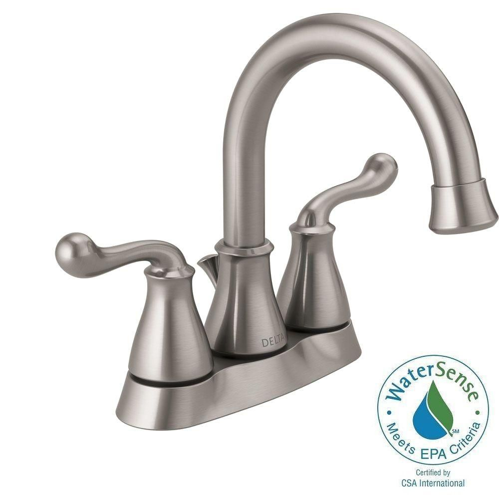 Delta Southlake 4 in. Centerset 2-Handle Bathroom Faucet in Brushed ...