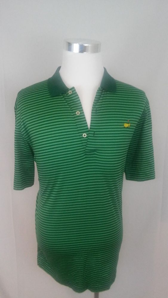 Augusta Logo Masters Men's L Golf Polo Shirt Green Striped-Benefits Charity #Masters #PoloRugby