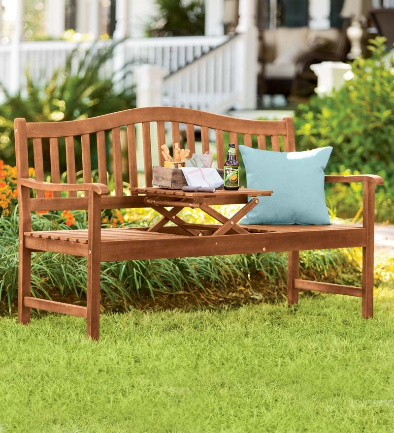 Eucalyptus Outdoor Bench With Built In Pop Up Table