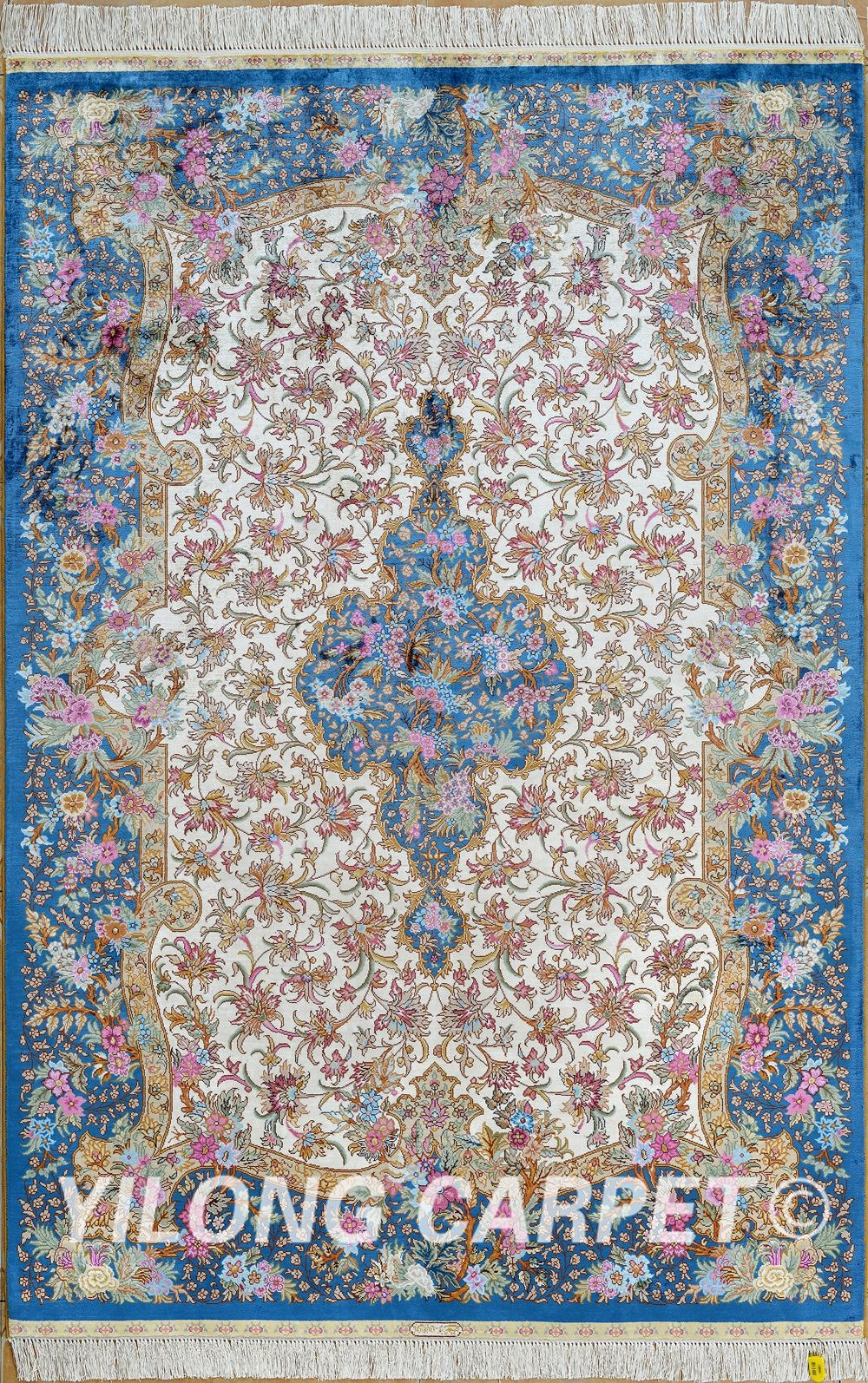Blue And Yellow Persian Rugs Hand Made Carpet Company Materials Silk Dyeing Vegetable