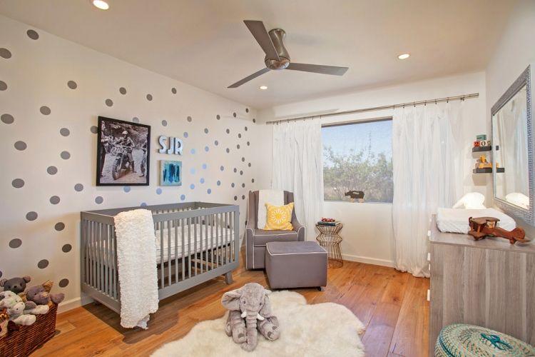 Babyzimmer Gestalten Geschlechtsneutral Grau Weiss Gelb