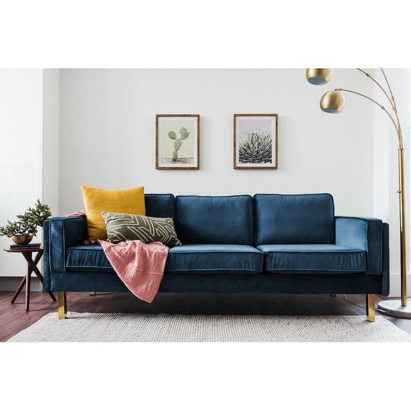 Everly Quinn Claybrooks Mid Century Modern Sofa Reviews Wayfair Blue Couch Living Room Blue Sofas Living Room Blue Sofa Living