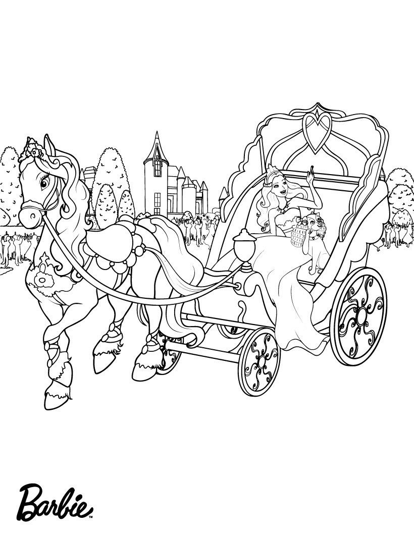 Horse And Buggy Coloring Page Youngandtae Com Horse Coloring Pages Barbie Coloring Pages Princess Coloring Pages