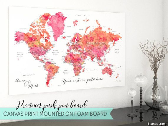 Personalized couple map canvas pinboard premium push pin board personalized couple map canvas pinboard premium push pin board world map travel pinboard gumiabroncs Gallery