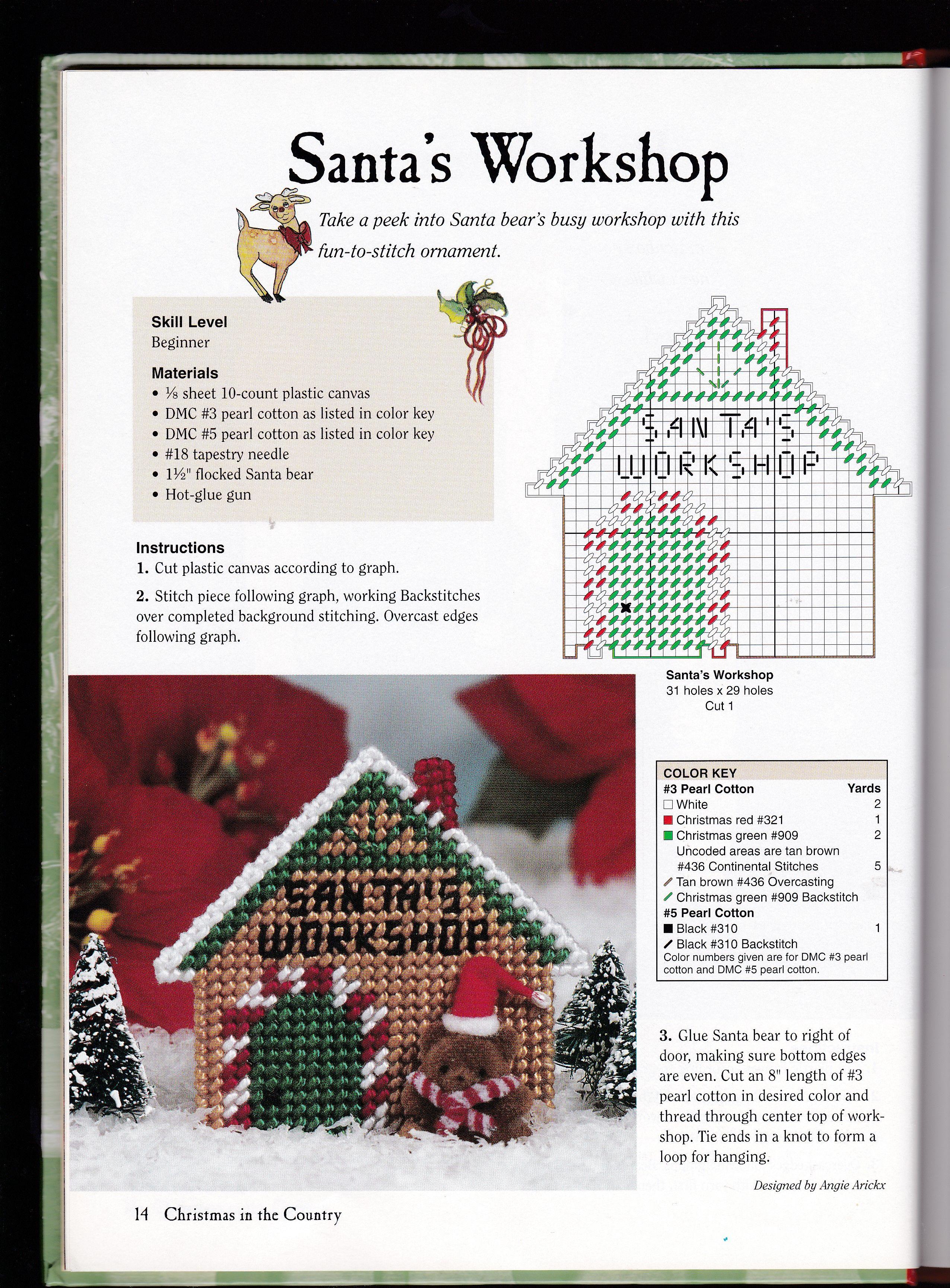 Santa\'s Workshop ornament | Bordados en punto dr cruz arco ...