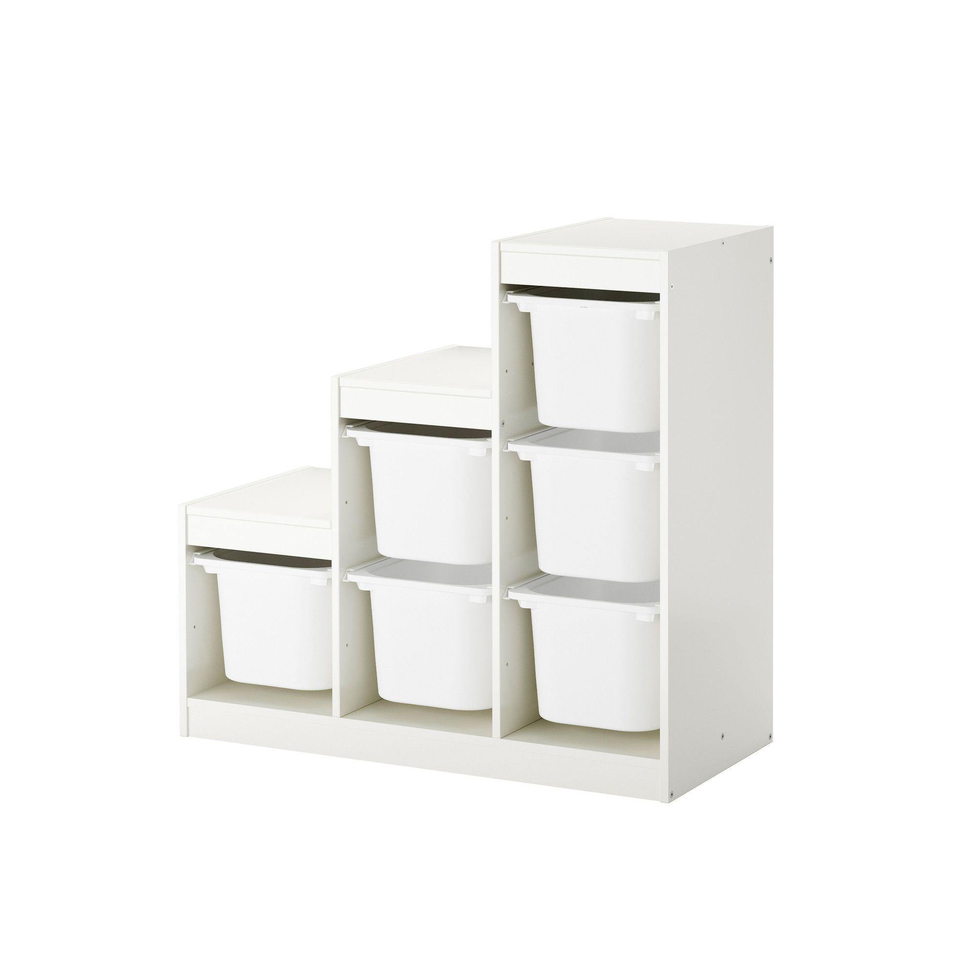 Trofast Combi Rangement Boites Blanc 99x44x94 Cm Meubles De