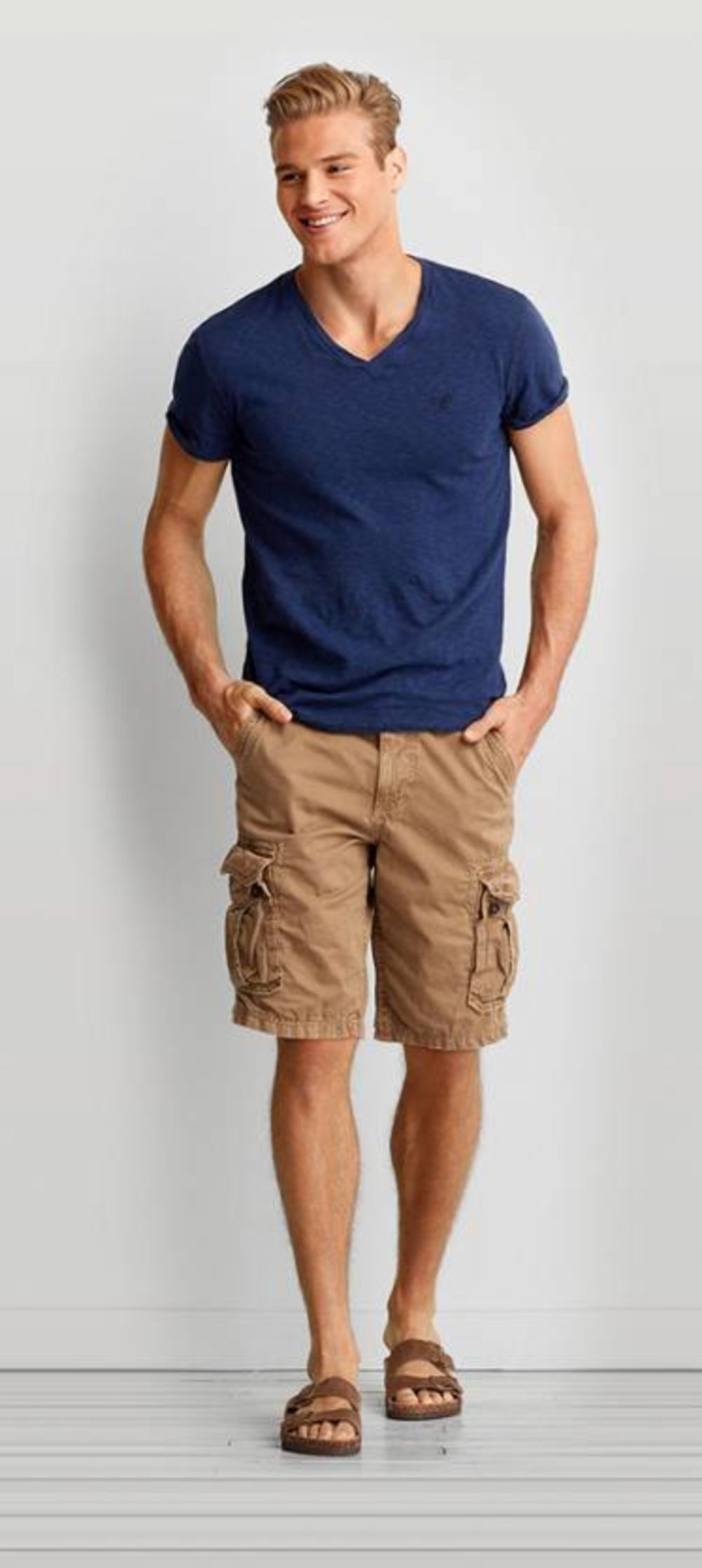 Men's Olive Crew-neck T-shirt, Tan Shorts, Tan Leather Boat Shoes ...