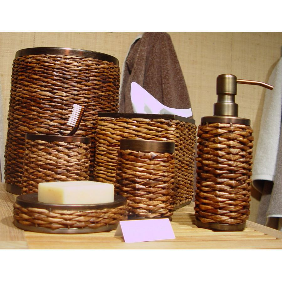tommy bahama retreat wicker bath accessories first choice for master bathroom - Wooden Bathroom Accessories Uk