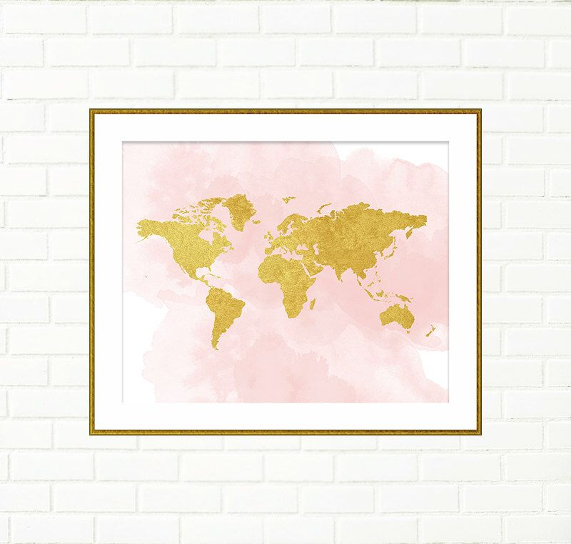 Baby Girl Nursery Art Print, Gold World Map, Pink Gold Wall Decor ...
