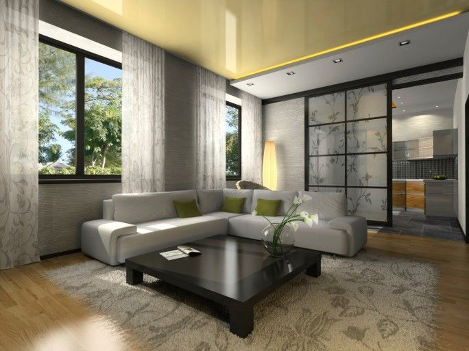 Kleines Wohnzimmer Mit Grau Möbel, Schwarz Couchtisch Auf Hellen  Holzfußboden. Große Fenster Haben Graue