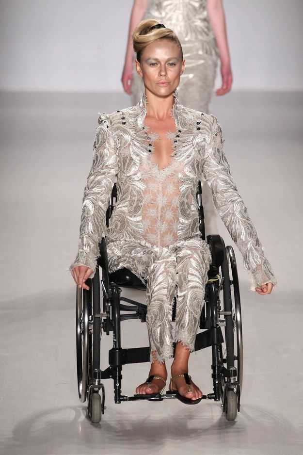 Disabled models from around the world featured in the show for FTL Moda's AW15 collection on Sunday at the Lincoln Center. It was titled FTL Moda Loving You and created by designer Antonio Urzi. #ZenniFashionChallenge
