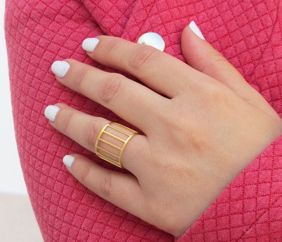 Cuff ring Gold cage ring Gift ideas Rings for by HLcollection