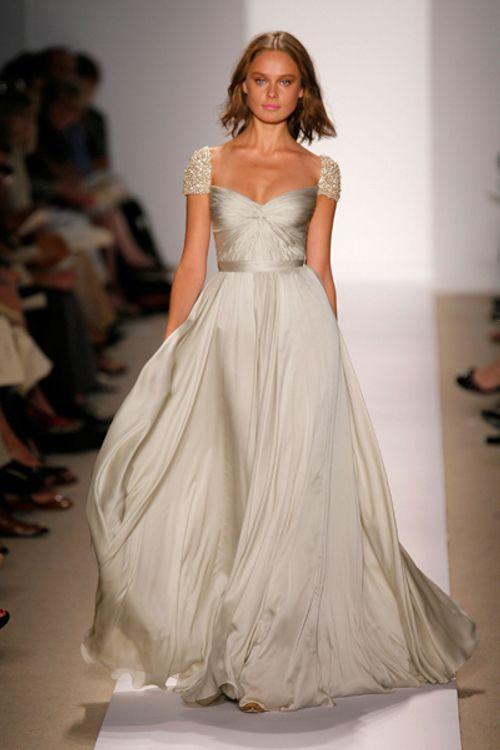 Reem Acra Silver Gown Wedding Dress Cap Sleeves Wedding Dresses Reem Acra Wedding Dress