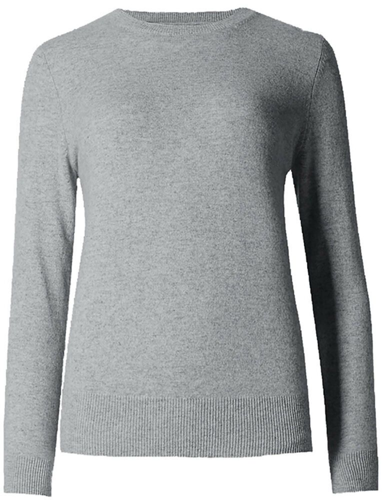 M /& S COLLECTION GREY MARL PURE CASHMERE ROUND NECK JUMPER