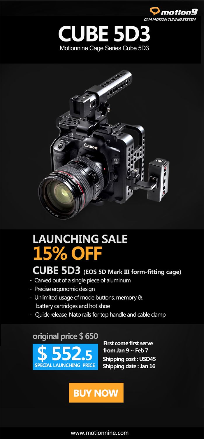 Motionnine Releases Camera Cage For Canon Eos 5d Mark Iii Form Fitting New Quick Release Nato Handle Cable Clamp Eos Camera Canon Eos