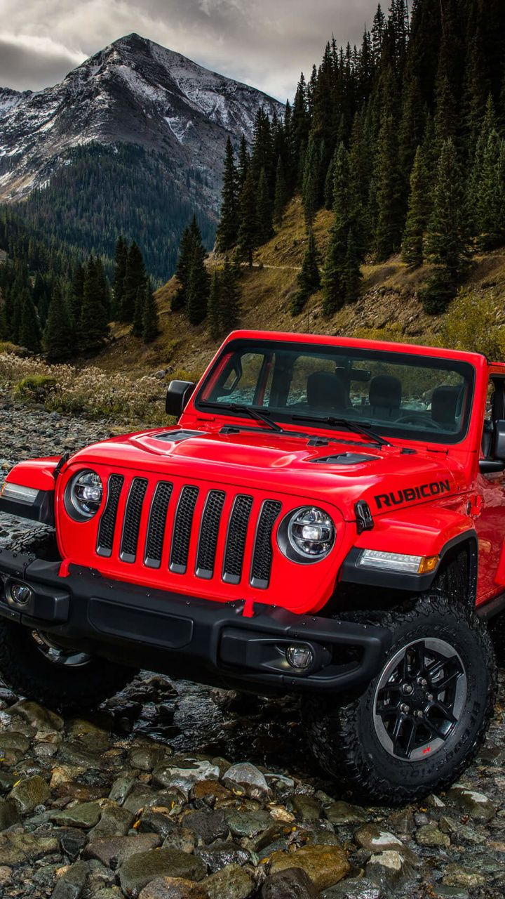 Red Utility Vehicle Jeep Wrangler Outdoor 720x1280 Wallpaper