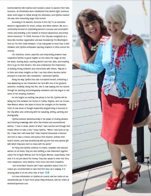 Publication: HERLIFE Magazine DC Metro; Subjects: Patsy Anderson & Cynthia Di Lorenzi;  Photo: Karen Leigh;  Makeup: Carol Stover; Photo Styling: Nancy Alert