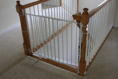 Installing A Baby Gate Without Drilling Into A Banister Baby Gates Stair Railing Design Banister Baby Gate