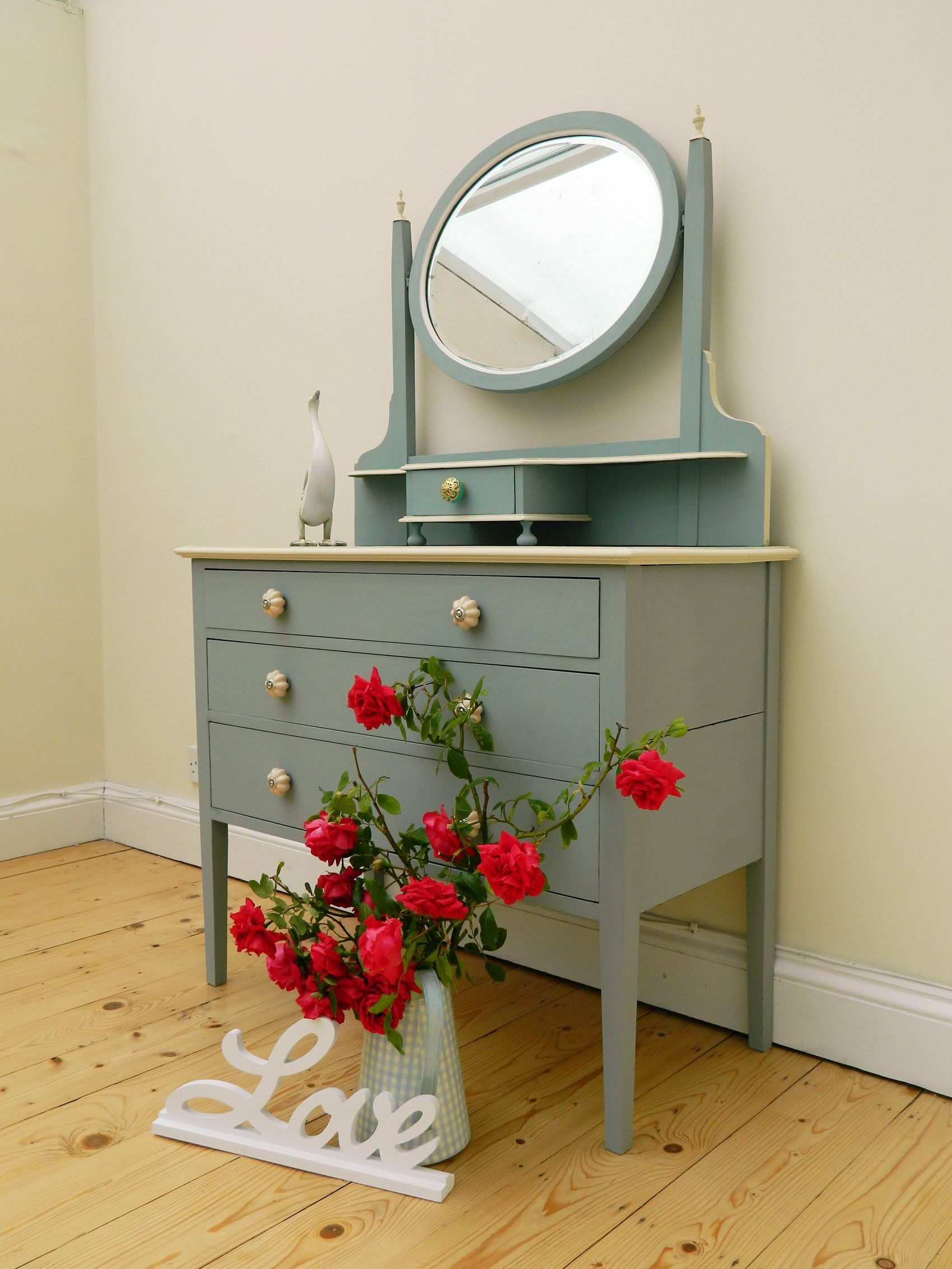 Dressing table has been refurbished. Annie Sloan Duck Egg Blue and ...