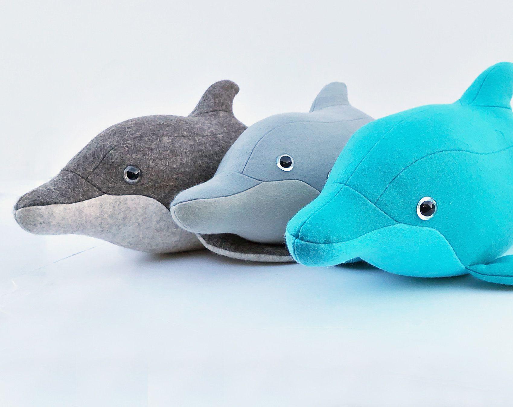 felt dolphin grey dolphin dolphin stuffie Dolphin toy sewn dolphin