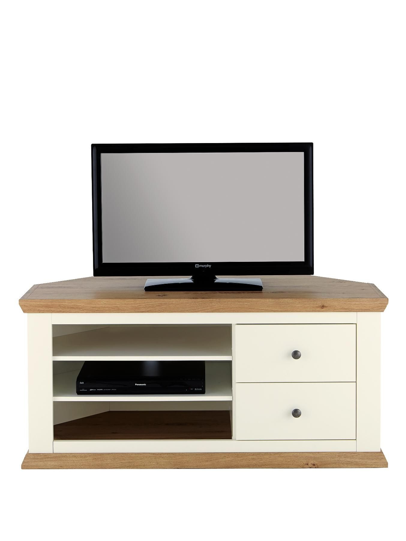 Amazing Easton Corner TV Unit In Cream/Oak Effect (Fits Up To 50 Inch