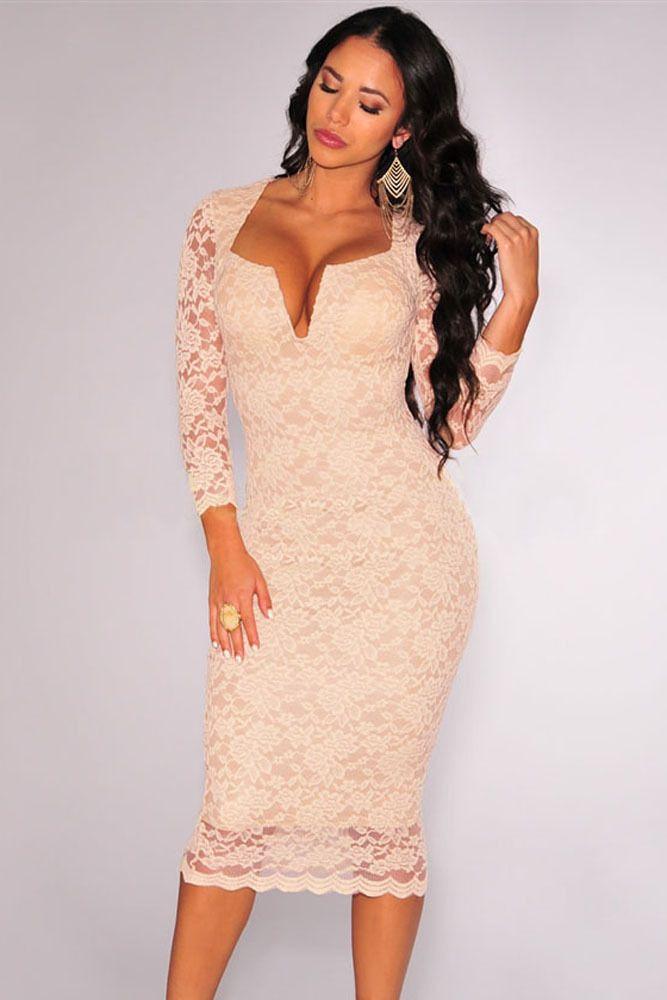f6b1b9529fe1 Vestido largo rosa pastel de encaje - Vestidos sexys | Dress ...