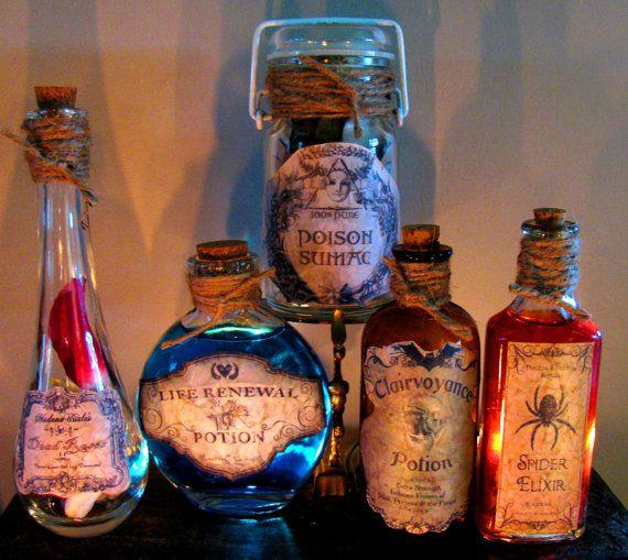 5 Potion Bottles jars Halloween Prop Decroations (set of 5) Vintage Bottles