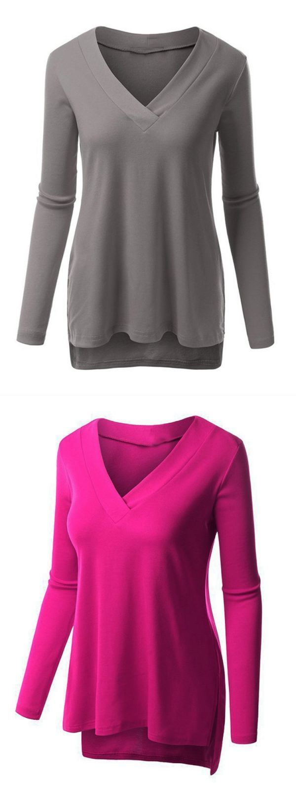 Women Long Sleeve Solid Color Casual V Neck Side Split T Shirt Polo Shirts 8217 S Online Y Whole Lucky 13