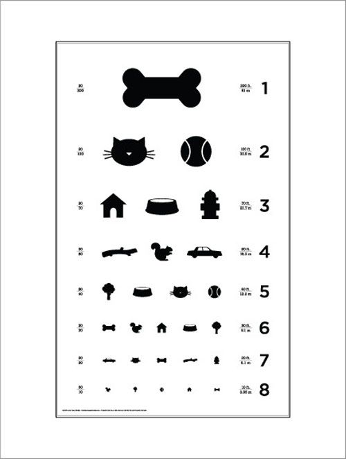 97ac06c76fe Dog Eye Chart designed by Local Paper Studio. This charming black and white eye  chart poster features all of your pups favorite things.