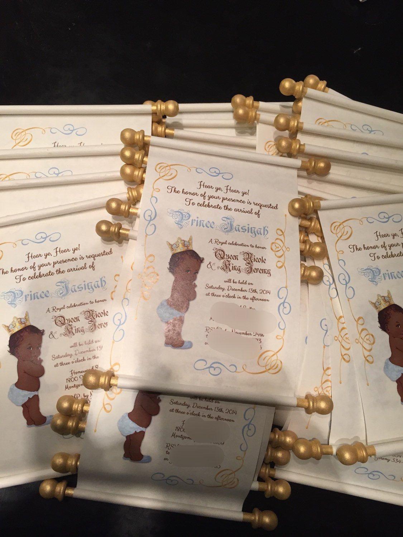 16 Handmade Baby Prince Scroll Invitations by