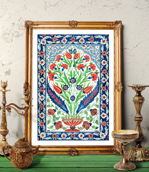 Traditional Ottoman Tulip Watercolor Wall Art Turkish Floral: Ottoman Tulip And Carnation Vase Design Tile Watercolor