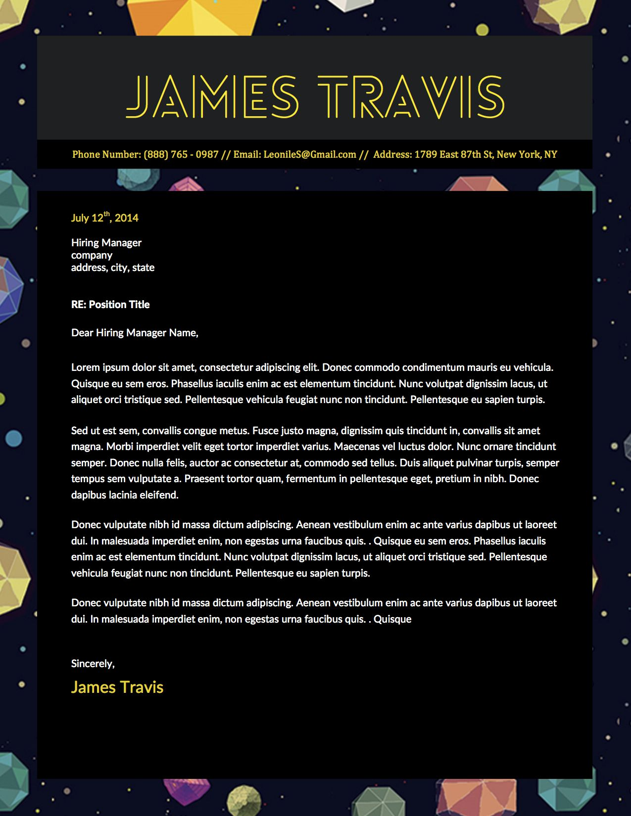 James Travis Creative Gamer Cover Letter Template For Microsoft Word