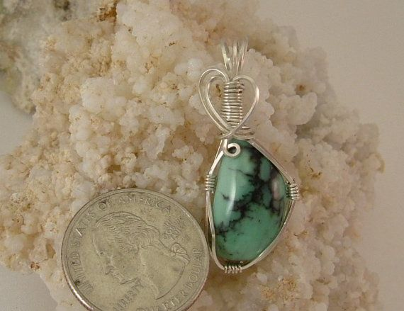Rare and Beautiful Blue Green Variquoise Wire Wrapped in Argentium Sterling Silver Wire 532