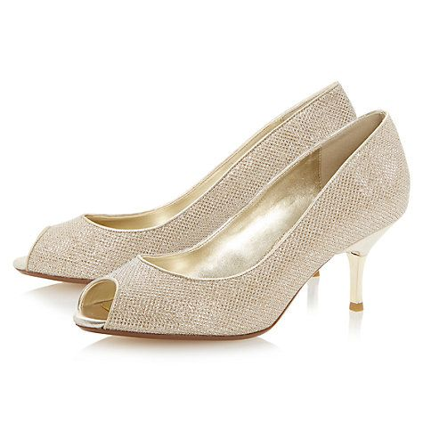 Buy Dune Delia Peep Toe Kitten Court Shoes, Gold Online at ...