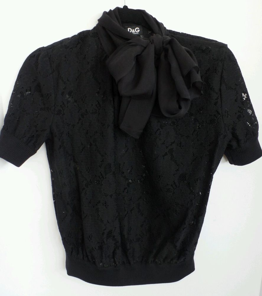 dae538ac6 D G Dolce Gabbana Black Lace Silk Pussybow Scarf T Shirt Top Blouse Sz 40 |  eBay