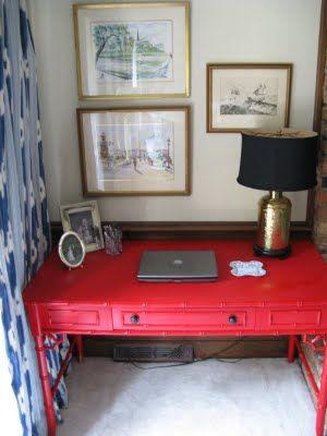 Red Bamboo Desk  Brass Lamp