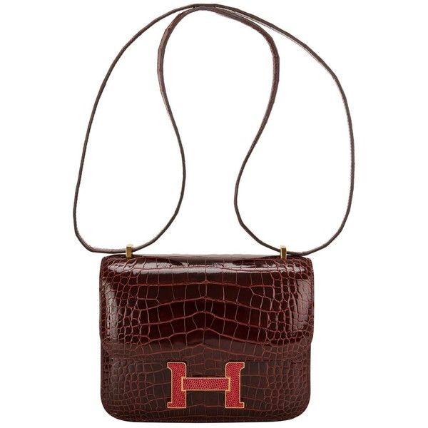 Preowned Hermes Bordeaux Shiny Alligator And Rouge H Lizard Constance...  ( 36 f7a0a700b1ede