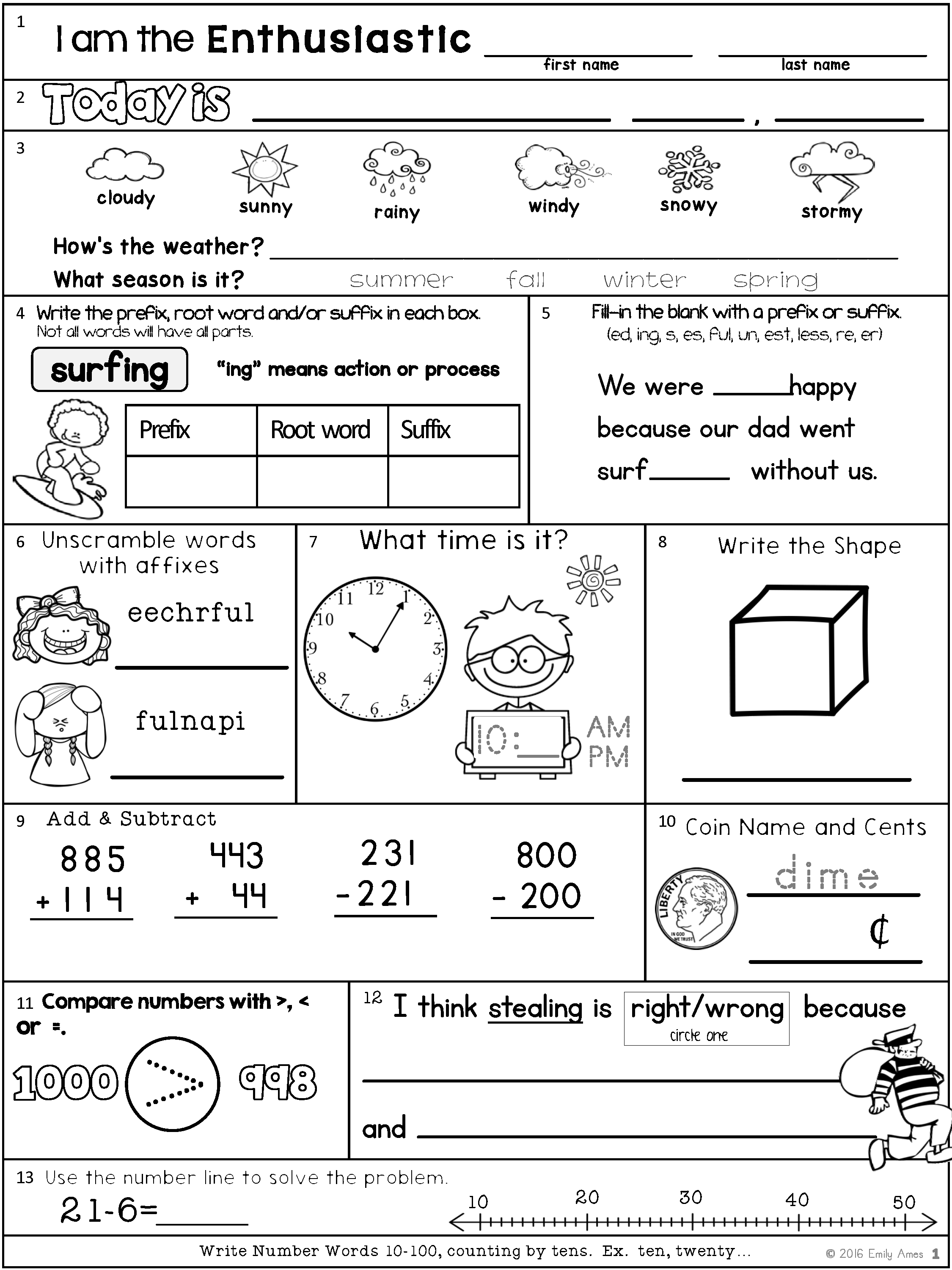Morning Work Second Grade Summer Packet