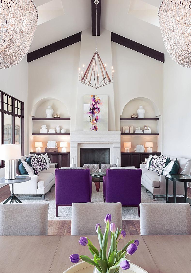 Elegant Transitional Style White And Purple Luxury Living