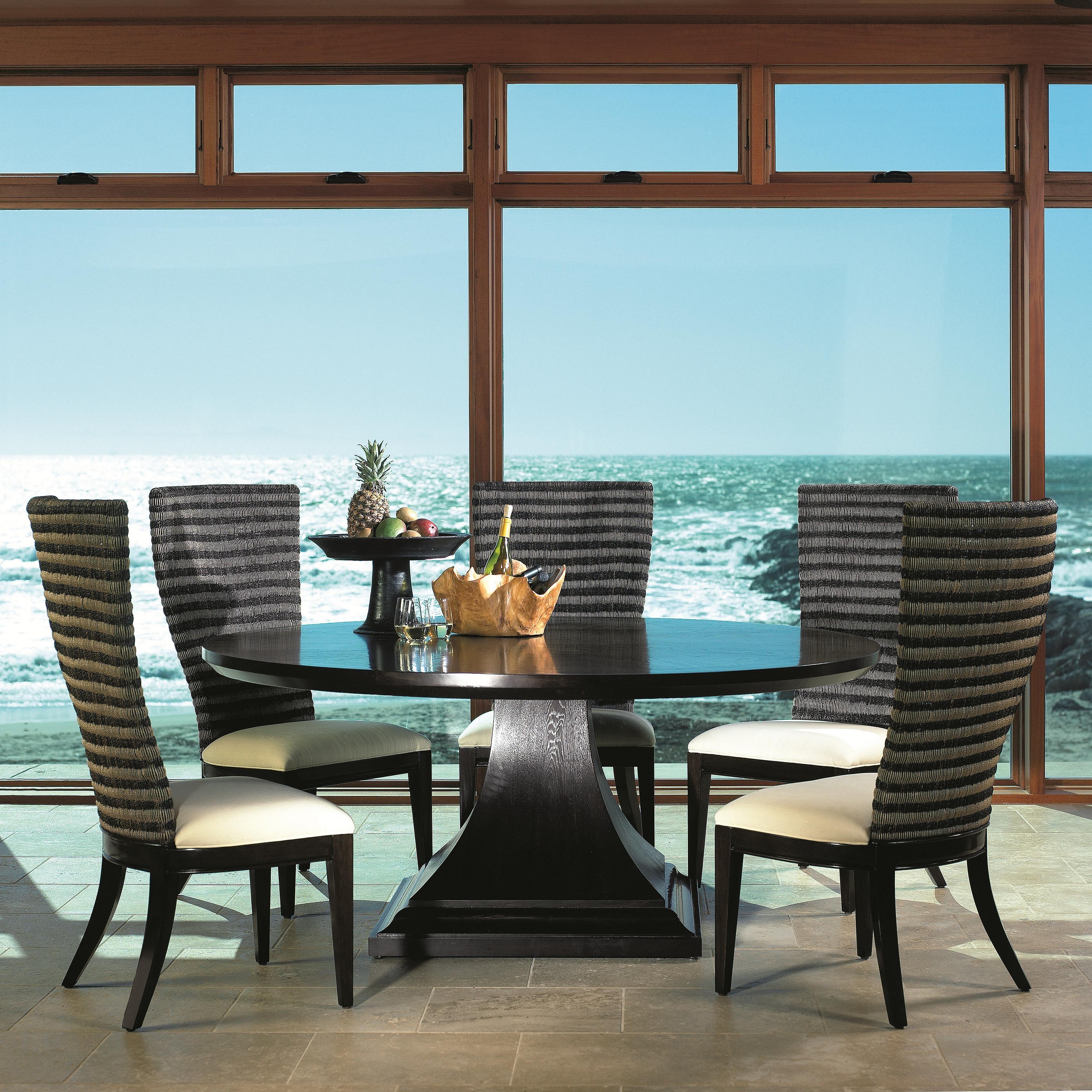 Bento Seven Piece Round Single Pedestal Dining Table Woven Back
