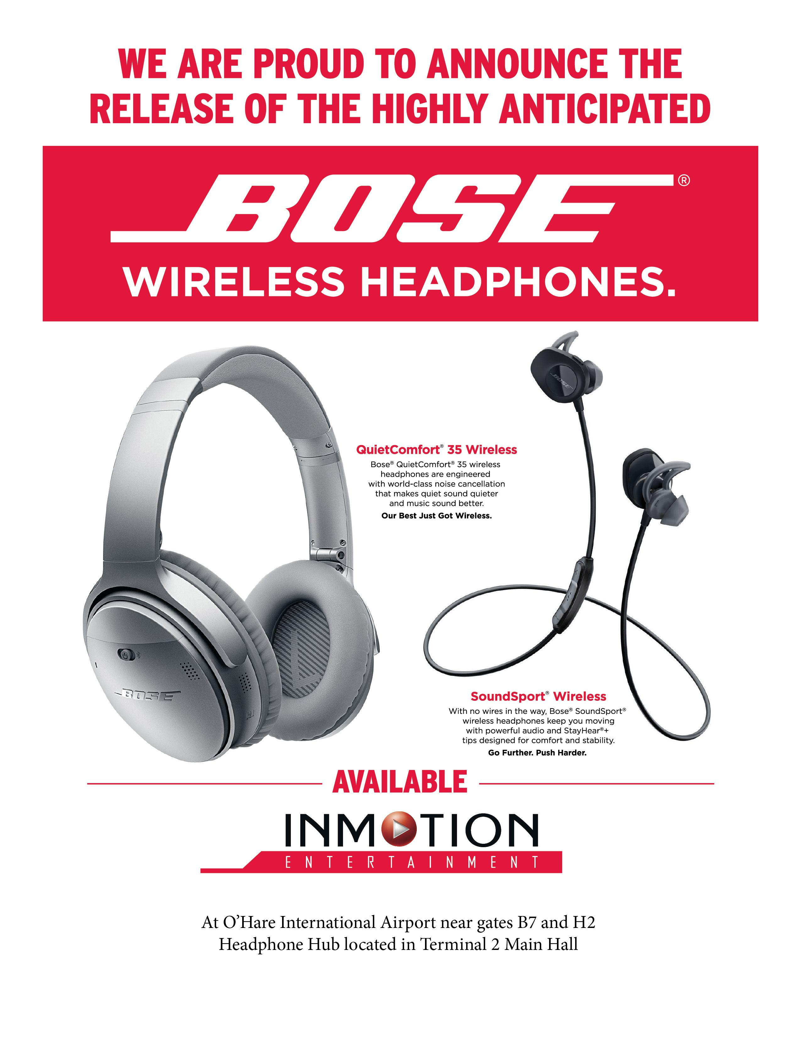Get Bose Wireless Headphones at O'Hare's InMotion