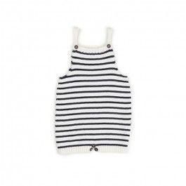 knit romper-white/dark navy stripes