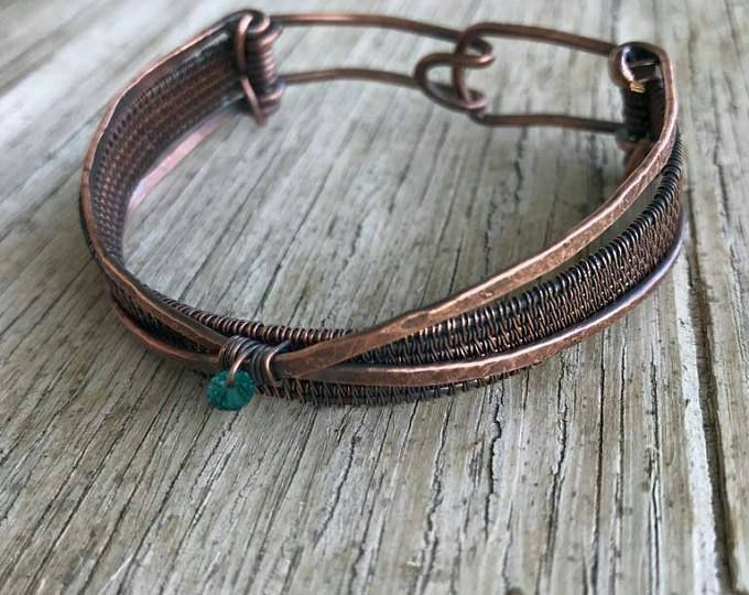 Kupfer Armband / / Draht gewebte Manschette / / Kupfer-Schmuck ...