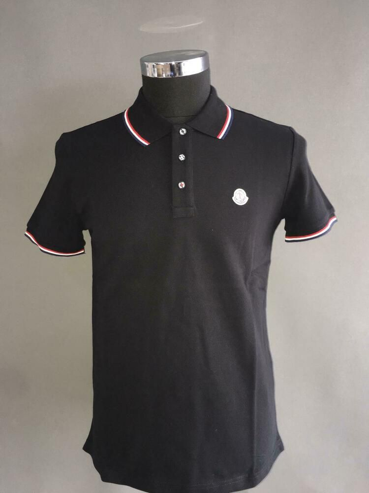 ad64ce8c2 MONCLER POLO MENS CASUAL BLACK SHORT SLEEVE COTTON #fashion ...