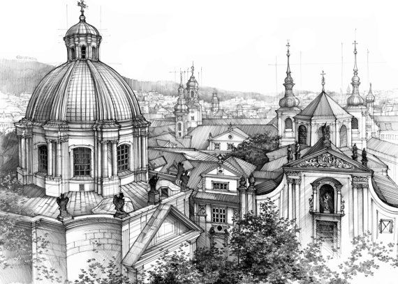 Realistic masterpiece coloring pages ~ Prague rooftops ORIGINAL DRAWING by Katarzyna Kmiecik ...