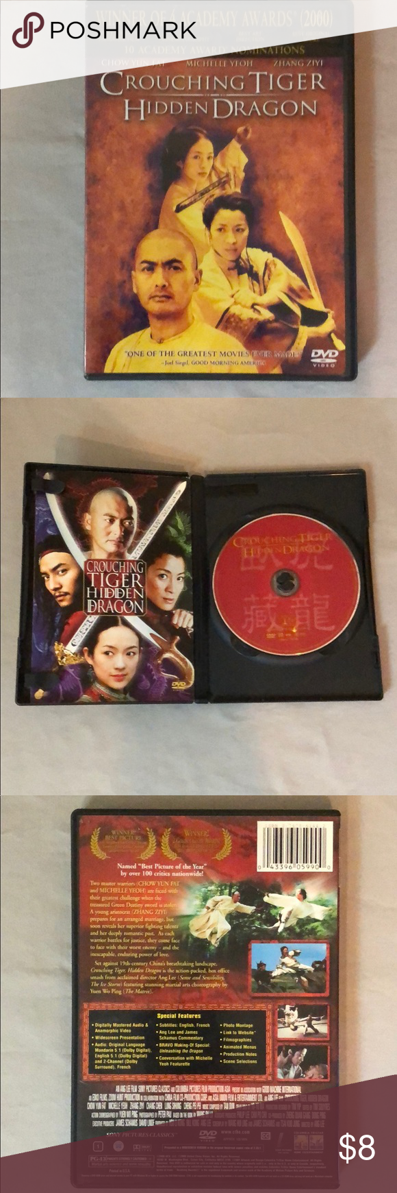 Crouching Tiger Hidden Dragon DVD Used I just added this listing on Poshmark: Crouching Tiger Hidden Dragon DVD Used.
