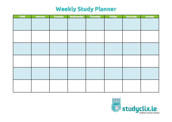 study schedule templates studyclix study plan for junior and leaving cert 24994