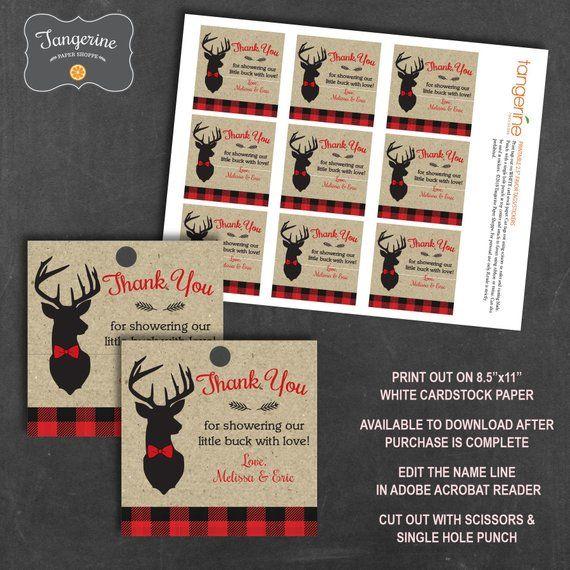 Deer Shower Winter Baby Shower Antlers Invite Flannel Baby Shower Download Little Buck Invite Set Buffalo Plaid Baby Shower Invitation