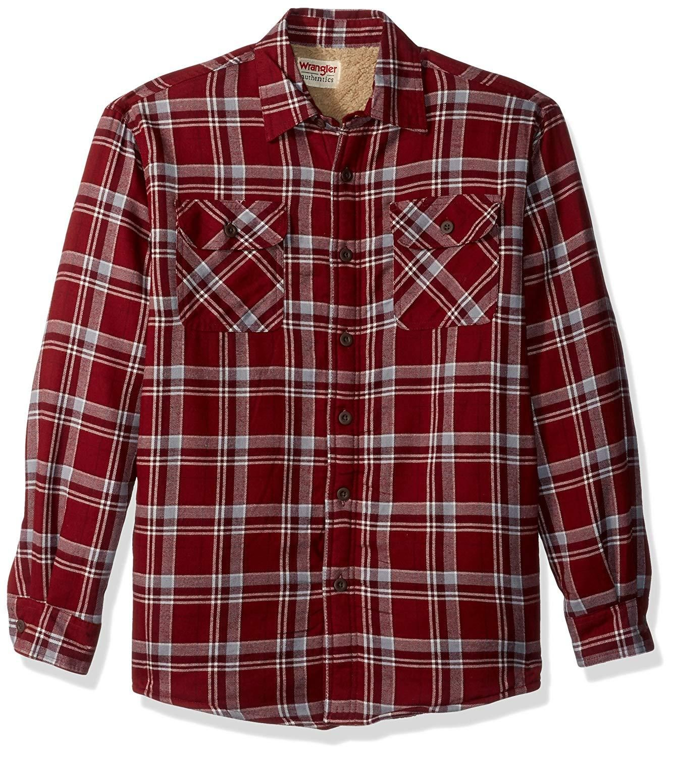 MaiS Men Loose Plaid Casual Pocket Long Sleeve CottonPlus Size Shirt